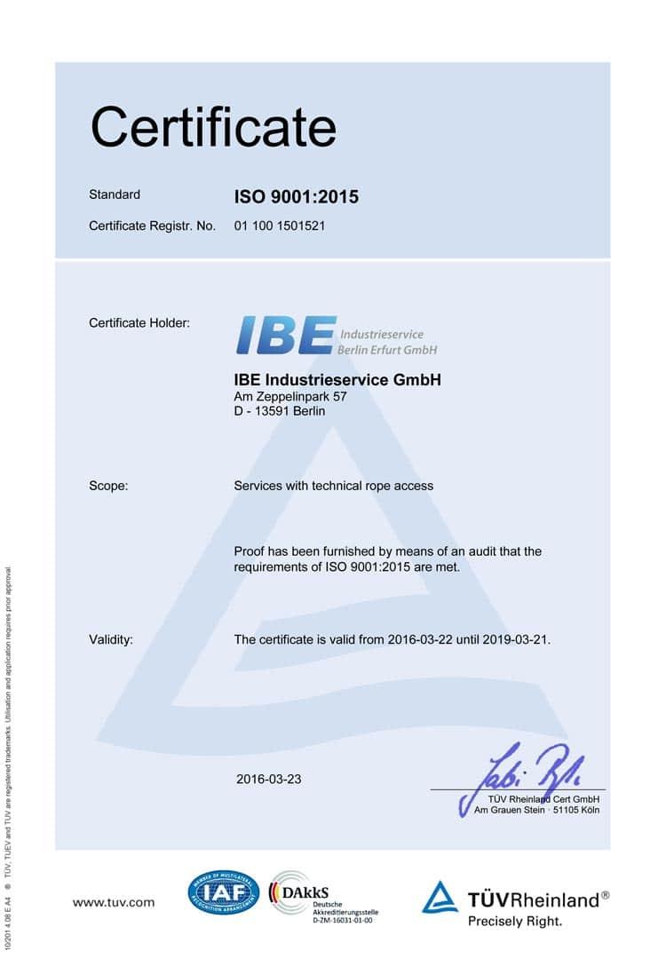 ISO 9001:2015 Zertifikat (Englisch)