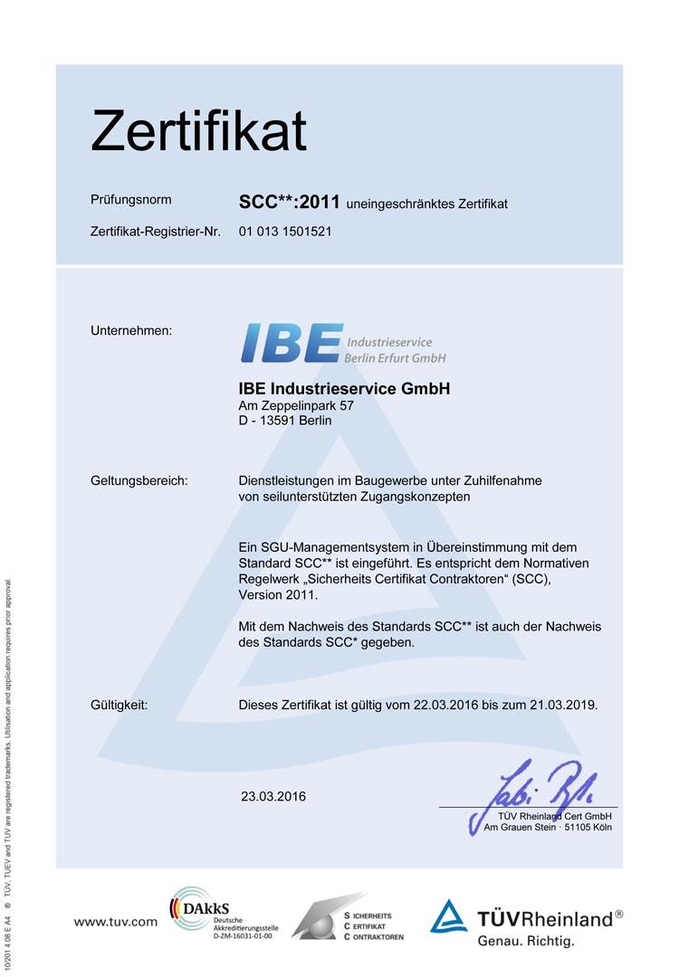 SCC**:2011 Zertifikat (Deutsch)