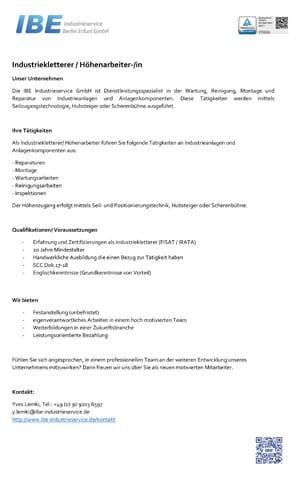 Job Höhenarbeiter IBE Industrieservice