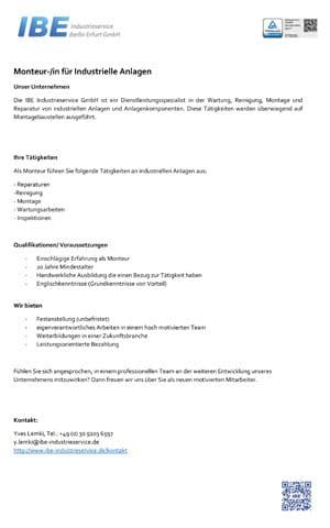 Job Monteur IBE Industrieservice