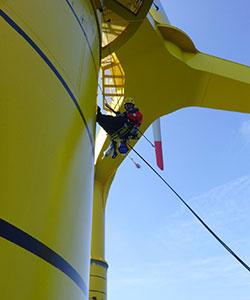Begutachtung einer Offshore Windkraftanlage
